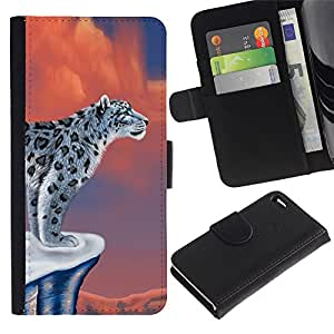 KingStore / Leather Etui en cuir / Apple Iphone 4 / 4S / Nieve Arte leopardo del gato grande hermoso Dibujo Salvaje