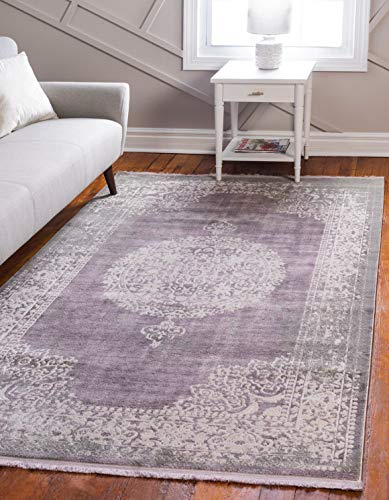 Unique Loom New Classical Collection Traditional Distressed Vintage Classic Purple Area Rug 4 0 x 6 0