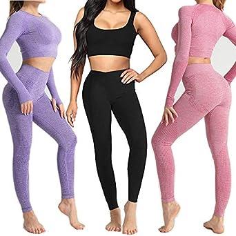 DONYKARRY Conjunto Yoga 3 Piezas Ropa Fitness, Pantalones De Yoga Súper Elásticos Sin Costuras+Bralette Para Mujer+Camiseta Deportiva De Manga Larga Sin Costuras Mujer