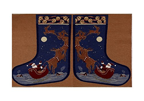 Holiday Joy Jacquard Easy Sew Stocking Panel Santa 27in X 20in Fabric
