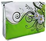 15.4 Inch Spring Green Floral Garden Notebook Padded Compartment Shoulder Messenger Bag Laptop Carrying Case for MacBook Pro Sony Samsung Acer Toshiba