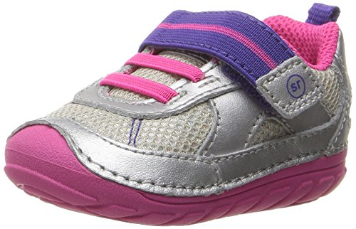 Stride Rite Baby Girl (Stride Rite Soft Motion Jamie Running Shoe, Silver/Purple, 3 M US Infant)