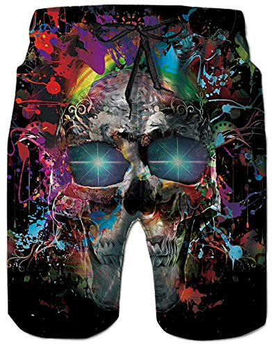 Uideazone Mens Swimming Trunks 3D Splash Skull Graphic Quick Dry Surfing Beach Shorts Swimsuit with Mesh Lining ()