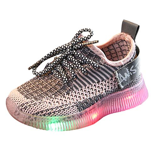 Gleamfut Kids Baby Boys Girls Fly Knit Sneakers LED Luminous Lantern Lace-up Breathable Mesh Lightweight Sport Shoes Pink (Trailer Park Box Boys Lunch)