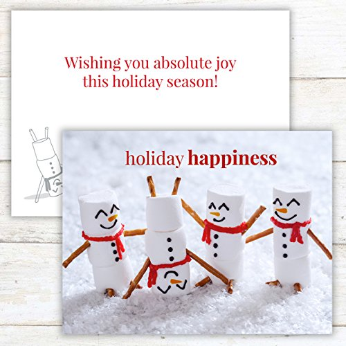 Marshmallow Snowmen Holiday Card Pack - Set of 25 cards - 1 design, versed inside with envelopes Photo #6