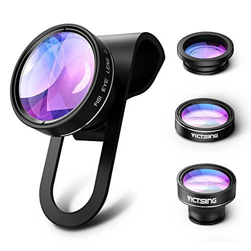 VicTsing 3 in 1 Fisheye Camera Lens, Macro Lens, 0.65X Wide Angle Lens, Clip on Cell Phone Lens Kits for iPhone 7, 6s, 6, 5s , Android and Most Phones