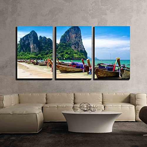 wall26 - 3 Piece Canvas Wall Art - Traditional Thai Boats at the Beach of Krabi Province. - Modern Home Decor Stretched and Framed Ready to Hang - 24''x36''x3 Panels by wall26