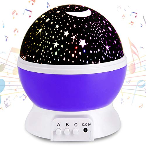 Moredig Night Light Prejector, 360 Degree Rotation 12 Songs Kids Projection Lamp Multicolor Star Moon Sky Ceiling Projector for Baby, Child, Christmas, Birthday Gift (Purple)