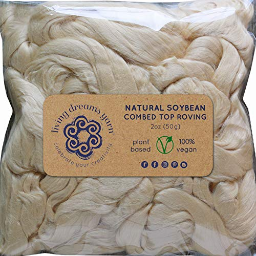 Soybean Fiber for Spinning Blending Dyeing. Super Soft Shiny Vegan Combed Top ()