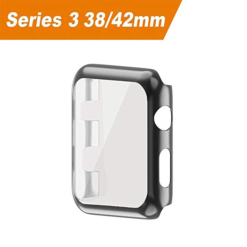 Hayder iPhone Watch Case Series 3 Ultra Slim Electroplate Anti-ScratchProtective Cover with Screen Protector for iPhone Watch Case 38mm/42mm Series 3 (38mm, Black)