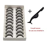 iQKA 10 Pair/Lot Thick Long Crisscross False Eyelashes Fake Eye Lashes Flexible Wispy False lashes for Beautiful Natural Looking (Black) (Black)
