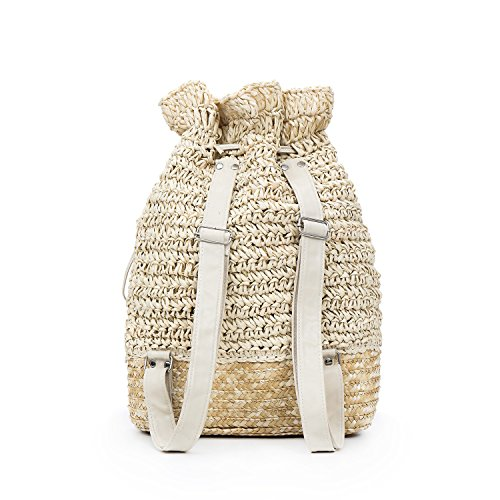 Woven Bag Shoulder Meaeo New Drawstring Straw Leisure Hollowed Beach AIf4q