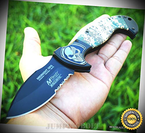 MTECH SPRING ASSISTED SHARP KNIFE BLACK CAMO TWO TONE FINISH HANDLE With CLIP - Premium Quality Hunting Very Sharp EMT EDC