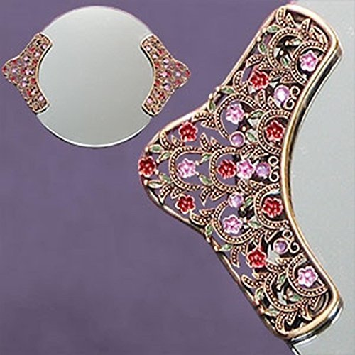 Bloom Round Serving Plate - StealStreet SS-A-51822 Round Mirror Tray with Classic Nature Crystal Jewels on Handles