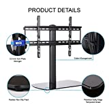 Fitueyes Universal TV Stand/ Base Tabletop TV Stand with Wall Mount for up to 60 inch Flat screen Tvs Vizio/Sumsung/Sony Tvs/xbox One/tv components TT107001GB
