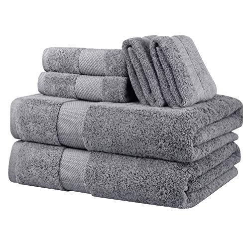 Wonwo Cotton Bath Towels, Luxury 6 Piece Set – 2 Bath Towels, 2 Hand Towels, and 2 Washcloths-Gray