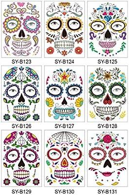Phayee - Tatuajes temporales para Rostro para Halloween, 9 Hojas ...