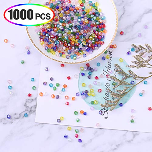XINFANGXIU Crystal Glass Beads for Jewelry Making, 1000Pcs Glass Bicone Beads Faceted Beads 4mm AB Mix Color Wholesale for DIY Craft Bracelet Necklace Earring with Box
