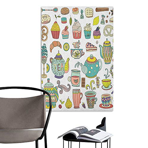 Jaydevn Wall Mural Wallpaper Stickers Tea Party Coffee and Dessert Cupcake Bagel Doughnut Baked Good and Sweets Cinnamon Teapot Multicolor 3D Bathroom Decal W16 x H20