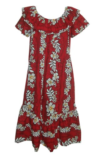 Jade Fashions Inc. Mode Jade Inc. Women Hawaiian Short Double Ruffle Hibiscus Red Muumuu Red Les Femmes Hawaïennes À Doubles Volants Hibiscus Rouge Rouge De Muumuu
