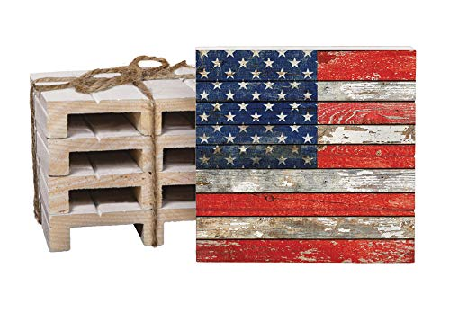 American Flag Weathered Old Glory 4 x 4 Inch Dried Pine Wood Pallet Coaster, Pack of 4