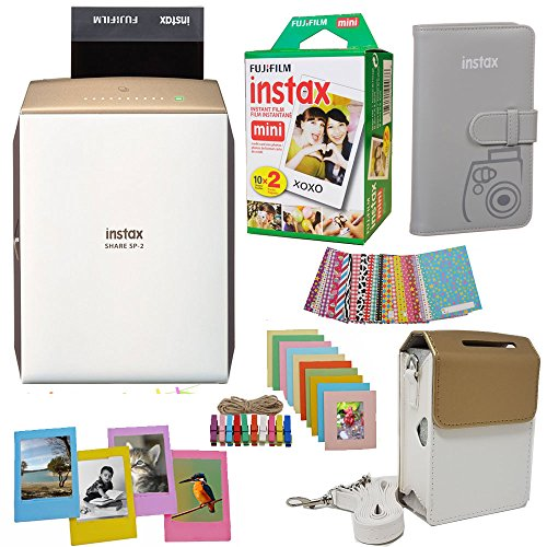 Fujifilm INSTAX SHARE SP-2 Smart Phone Printer (GOLD) + Fuji Instax Film Mini Twin Pack (20PK) + Fuji Photo Album + Accessories Kit / Bundle + Fitted Case + Frames And More by Abesons