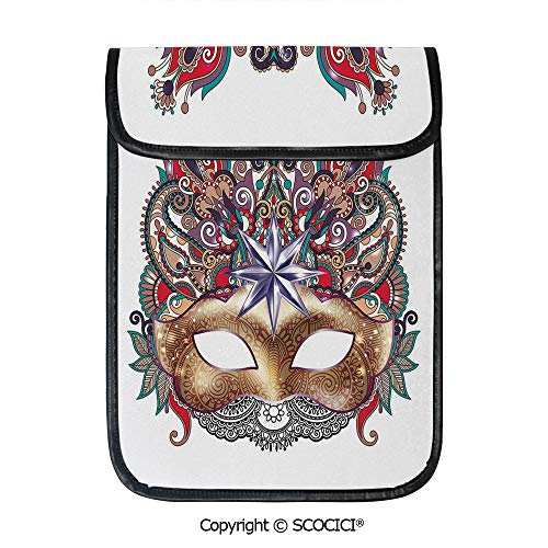 SCOCICI Simple Protective Venetian Carnival Mask Silhouette with Ornamental Elements Masquerade Costume Decorative Pouch Bag Sleeve Case Cover for 12.9 inches Tablets -