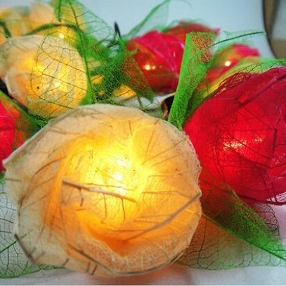 Thai Vintage Handmade 35 Mix White Red Rose Flower Fairy String Lights Wedding Party Floral Decor 3.5m by Flower Fairy Lights
