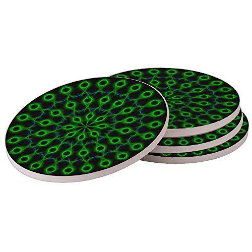 Green Jesus Fish - Absorbant Natural Sandstone Drink Coaster Set (Set of 4 Coasters) (Green Jesus Fish)