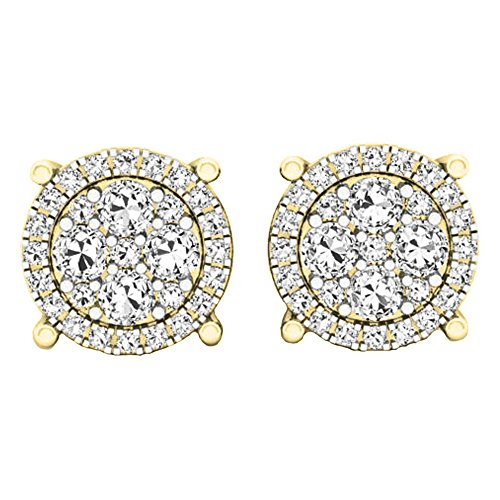 0.40 Carat (ctw) 14K Yellow Gold Round Cut White Diamond Ladies Cluster Flower Stud Earrings (Yellow Gold Ladies Cluster)