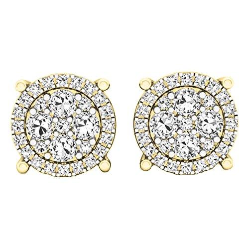 0.40 Carat (ctw) Round White Diamond Ladies Cluster Flower Stud Earrings, 14K Yellow Gold