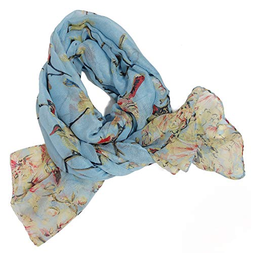 GERINLY Scarfs for Women Lightweight Floral Birds Print Shawl Scarf Gift for Holiday (Light Blue)