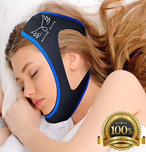 (Anti Snoring Chin Strap - Most Effective Anti Snoring Solution and Anti Snoring Device, Sleep Aid and Stop Snore for Men and Women, Highest Quality - by Active Elite)