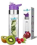NEW COLORS AquaFrut Bottom Loading Fruit Infuser Water Bottle 24 oz (Purple)
