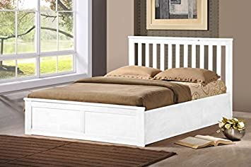Wooden Ottoman Storage Bed Double 4ft6   5ft King White Oak Storage Bed Gas  Lift (