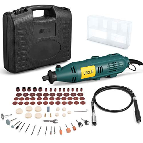 URCERI Rotary Tools Kit Flex Shaft 100 Accessories 6 Adjustable Speed 120V 60HZ Frequency, 135W Power and 35000 rpm No-Load Speed, Multiple-Function for Craft Projects
