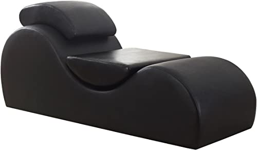 Versa Chair Living Room Multi-Functional Yoga Gaming Relaxation Meditation Outdoor Indoor TV Exercise Stretch Chaise Chair Reduce Stress Increase Intimacy Faux Leather Leatherette in Black