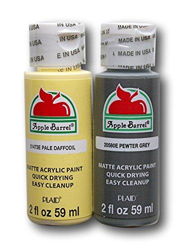 Apple Barrel Acrylic Paint Set - Pale Daffodil & Pewter Grey (2 Ounces Each) -  Plaid Enterprises Inc, 367