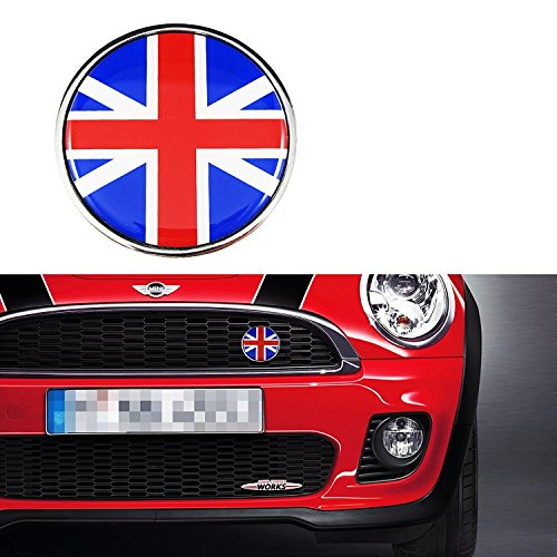 Xotic Tech 1 piece Red Blue Front Grill Badge w/Holder UK Flag Fit All MINI Cooper R50 R55 R56 R57 R558 R60