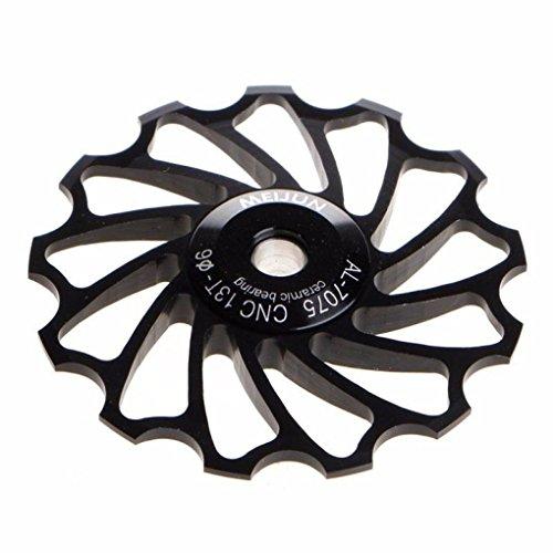 MNtech New 13T MTB Ceramic Bearing Jockey Wheel Pulley Road Bike Bicycle Rear Derailleur (Black) (Jockey Battery Pack)