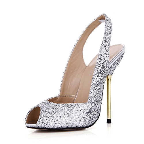 New sandals wedding evening after the high-heel shoes empty Silver Fish with iron tip shoes Silver Ux06B