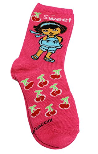 Dora the Explorer Hot Pink Cherry Pattern Kids Ankle Socks (1 Pair, Size 5-6.5)