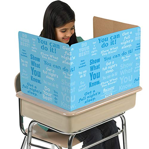 (Really Good Stuff Privacy Shields for Student's Desks - Desk Shield Keeps Their Eyes on Their Own Test/Assignments -Blue with Motivational Messages (Set of)