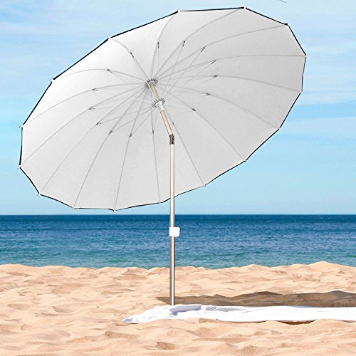 AMMSUN 2018 8ft 16 Panels Polyester Fabric Heavy Duty Outdoor Garden Patio Beach Umbrella with Tilt Classic UPF 50+ White color - White Patio Umbrella
