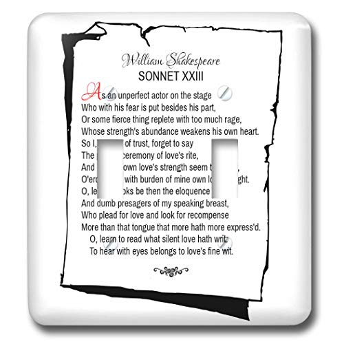 3dRose Alexis Design - Poetry Shakespeare Sonnets - Sonnet 23. As an unperfect actor on the stage - Light Switch Covers - double toggle switch (lsp_305668_2)