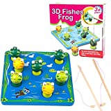 Dreamyth Children's Educational Toys Fun Wooden Magnetic Fishing Frogs Gift