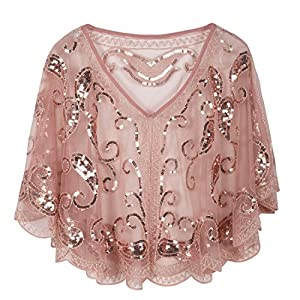 PrettyGuide Women's Evening Cape 1920s Vintage Cocktail Flapper Beaded Shawl Pink