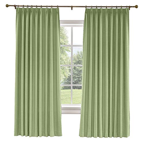 (CosyPages Pinch Pleated, 50W x 63L(1 Panel) Luxury Linen Polyester Window Drapery Curtain, Blackout Curtain, Jade Green, Curtain for Sliding Glass Door Patio Door Living Room)