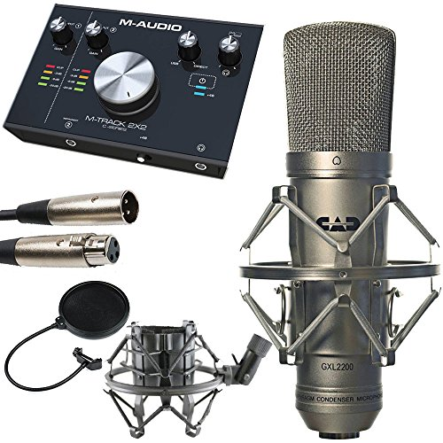 CAD GXL2200 Cardioid Condenser Microphone + Pop Filter Goosneck + M-Audio M Track C Series 2x2 Audio Interface + Technology Balanced interconnect XLR3F to XLR3M 5' Cable - Top Value -