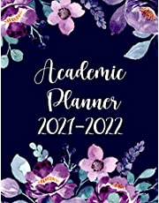 2021-2022 Academic Planner: Monthly and Weekly School Year Calendar Agenda Schedule Organizer | July 2021- June 2022 Starting in July / School & College Student Planner 2021-2022 (Pretty Watercolor Flowers Dark Blue Cover)